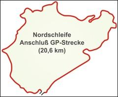 Nordschleife zwischen den Anschlußstücken zur GP-Strecke (20,6 km)