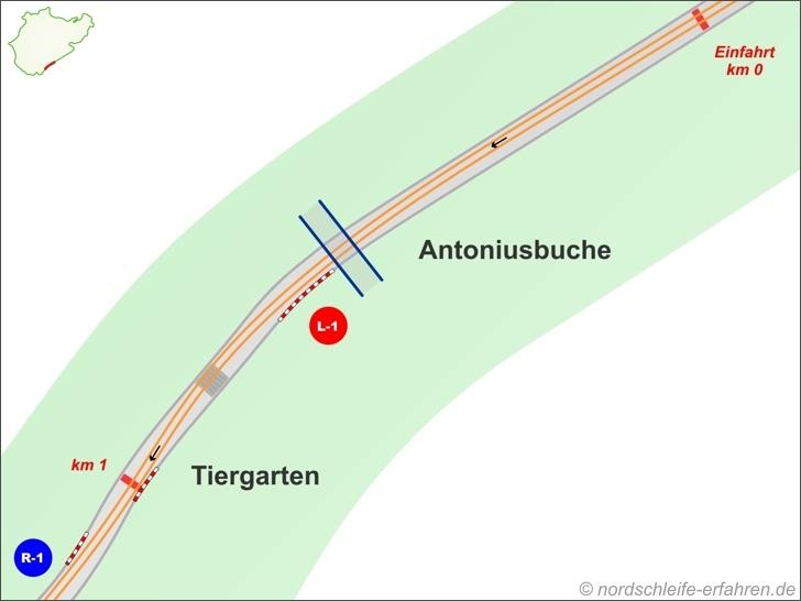 Ideallinie Streckenabschnitte Antoniusbuche und Tiergarten
